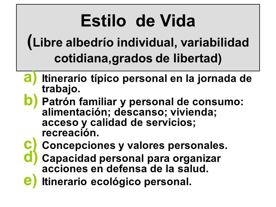 Estilo de Vida ( Libre albedrío individual, variabilidad cotidiana,grados de libertad) a) Itinerario típico personal en la jornada de trabajo. b) Patr