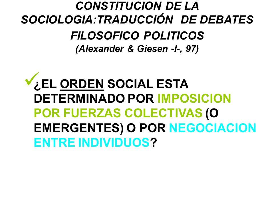 CONSTITUCION DE LA SOCIOLOGIA:TRADUCCIÓN DE DEBATES FILOSOFICO POLITICOS (Alexander & Giesen -I-, 97) ¿EL ORDEN SOCIAL ESTA DETERMINADO POR IMPOSICION