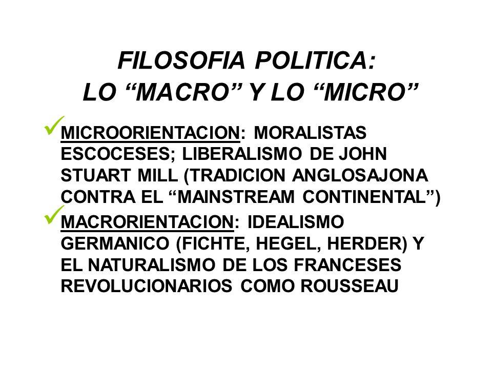 FILOSOFIA POLITICA: LO MACRO Y LO MICRO MICROORIENTACION: MORALISTAS ESCOCESES; LIBERALISMO DE JOHN STUART MILL (TRADICION ANGLOSAJONA CONTRA EL MAINS