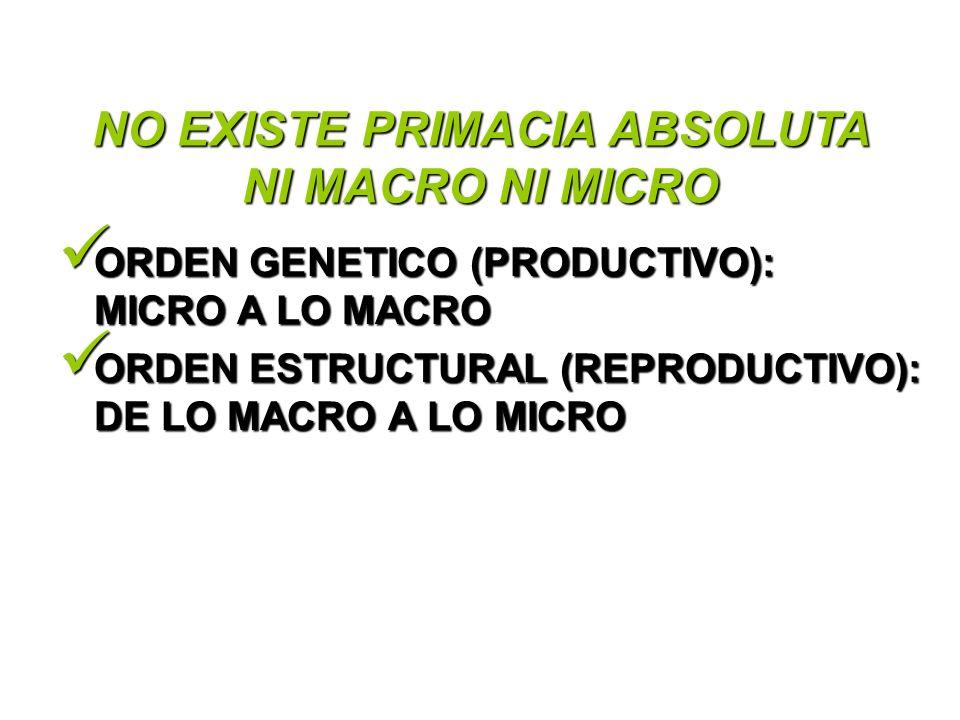 NO EXISTE PRIMACIA ABSOLUTA NI MACRO NI MICRO ORDEN GENETICO (PRODUCTIVO): MICRO A LO MACRO ORDEN GENETICO (PRODUCTIVO): MICRO A LO MACRO ORDEN ESTRUC