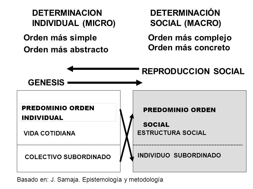 DETERMINACION INDIVIDUAL (MICRO) DETERMINACIÓN SOCIAL (MACRO) PREDOMINIO ORDEN INDIVIDUAL PREDOMINIO ORDEN SOCIAL VIDA COTIDIANA ESTRUCTURA SOCIAL COL