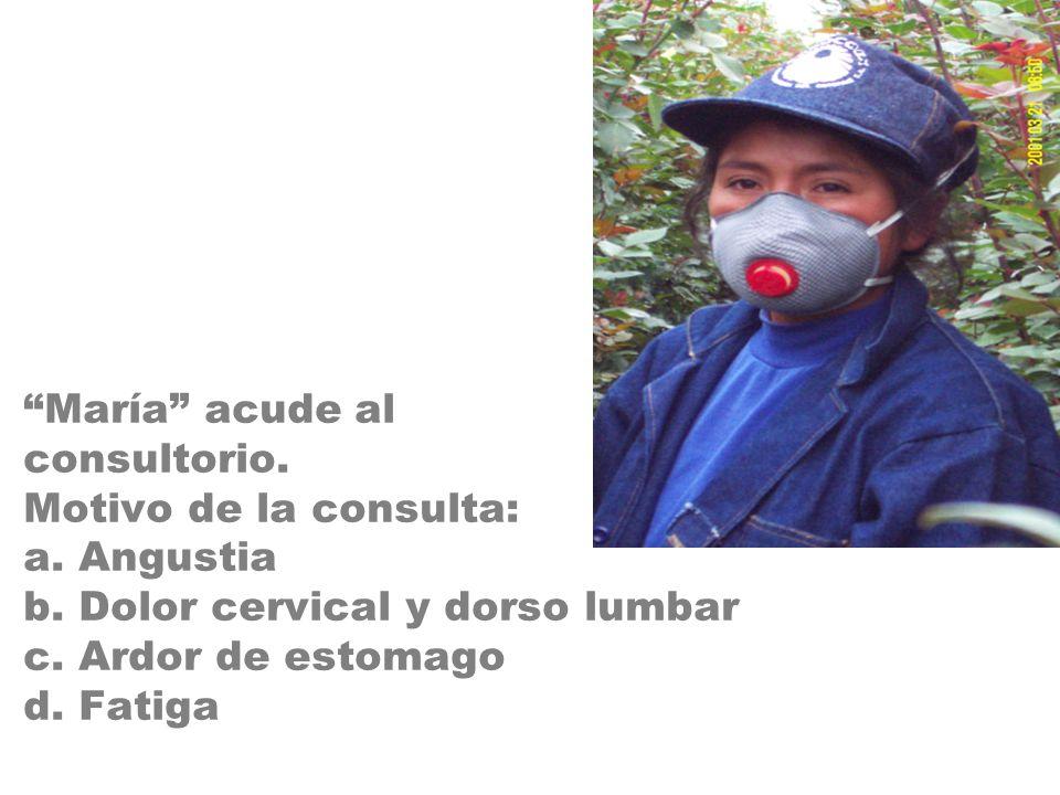 María acude al consultorio. Motivo de la consulta: a. Angustia b. Dolor cervical y dorso lumbar c. Ardor de estomago d. Fatiga