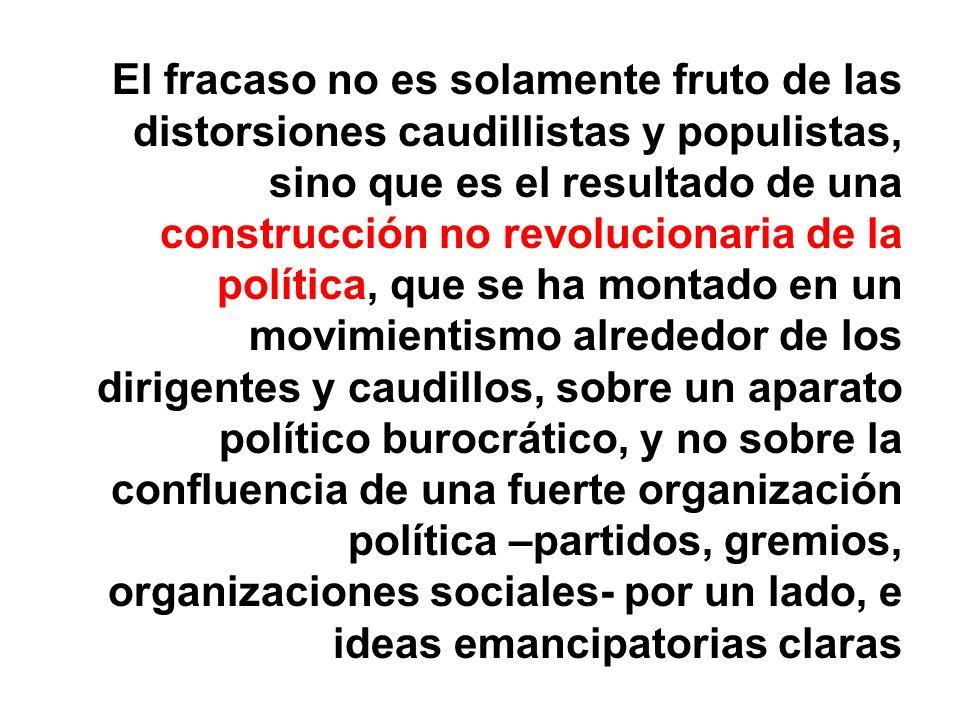 El fracaso no es solamente fruto de las distorsiones caudillistas y populistas, sino que es el resultado de una construcción no revolucionaria de la p