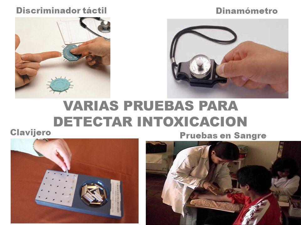 Discriminador táctil Clavijero Dinamómetro VARIAS PRUEBAS PARA DETECTAR INTOXICACION Pruebas en Sangre