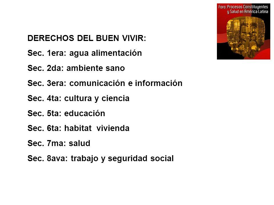 DERECHOS DEL BUEN VIVIR: Sec. 1era: agua alimentación Sec. 2da: ambiente sano Sec. 3era: comunicación e información Sec. 4ta: cultura y ciencia Sec. 5