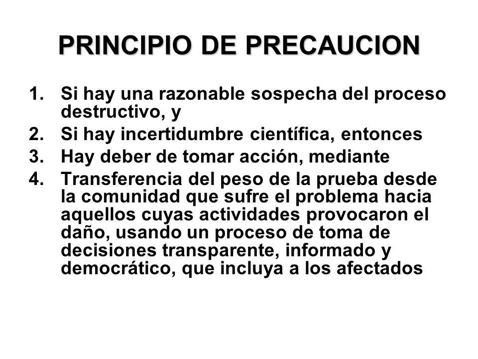 PRINCIPIO DE PRECAUCION 1.Si hay una razonable sospecha del proceso destructivo, y 2.Si hay incertidumbre científica, entonces 3.Hay deber de tomar ac