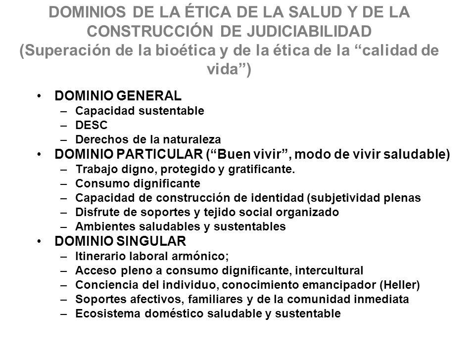 DOMINIOS DE LA ÉTICA DE LA SALUD Y DE LA CONSTRUCCIÓN DE JUDICIABILIDAD (Superación de la bioética y de la ética de la calidad de vida) DOMINIO GENERA