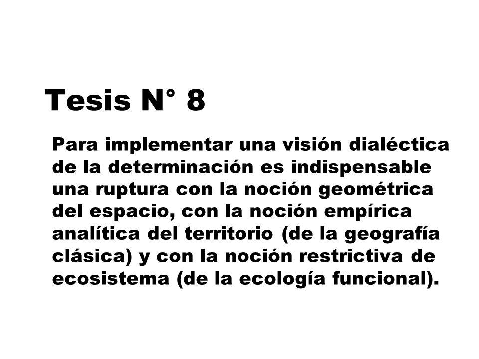 Tesis N° 8 Para implementar una visión dialéctica de la determinación es indispensable una ruptura con la noción geométrica del espacio, con la noción
