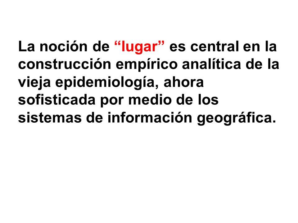 La noción de lugar es central en la construcción empírico analítica de la vieja epidemiología, ahora sofisticada por medio de los sistemas de informac