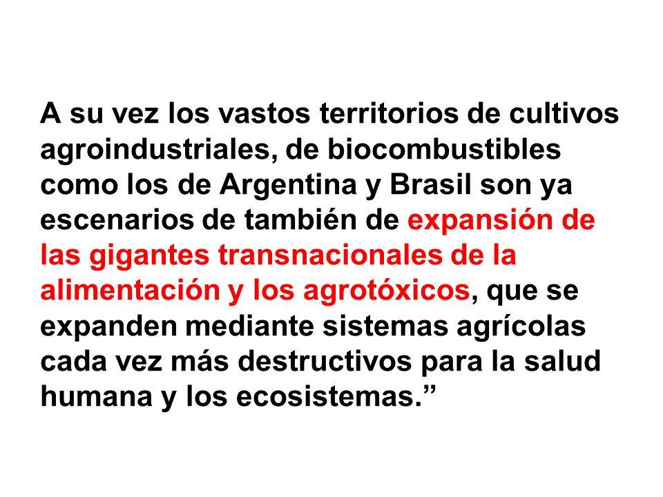 A su vez los vastos territorios de cultivos agroindustriales, de biocombustibles como los de Argentina y Brasil son ya escenarios de también de expans