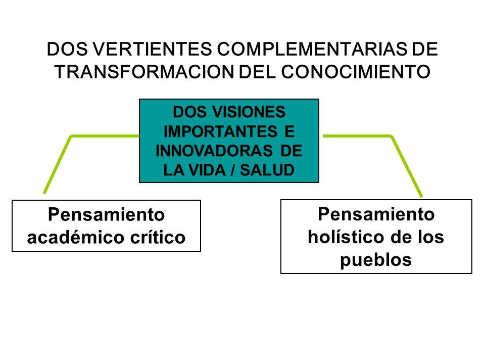 DOS VERTIENTES COMPLEMENTARIAS DE TRANSFORMACION DEL CONOCIMIENTO DOS VISIONES IMPORTANTES E INNOVADORAS DE LA VIDA / SALUD Pensamiento académico crít