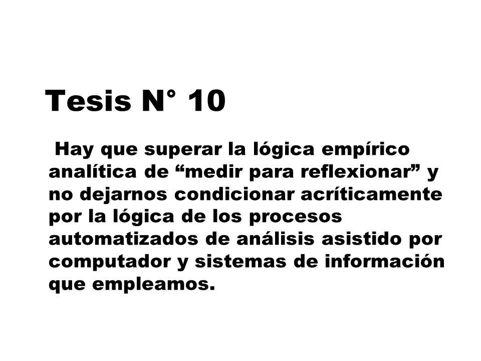 Tesis N° 10 Hay que superar la lógica empírico analítica de medir para reflexionar y no dejarnos condicionar acríticamente por la lógica de los proces
