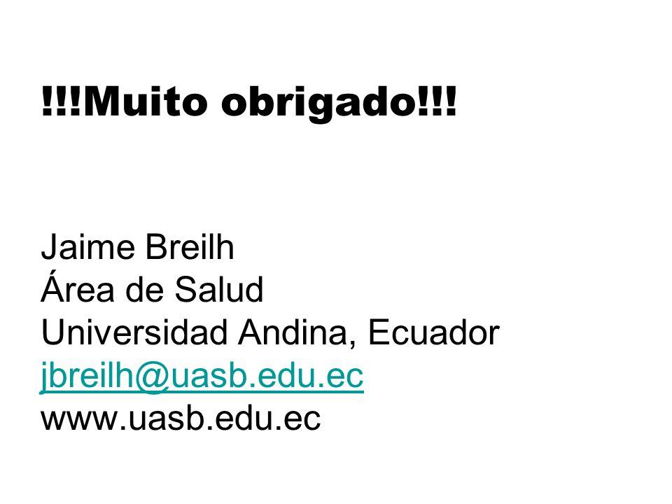 !!!Muito obrigado!!! Jaime Breilh Área de Salud Universidad Andina, Ecuador jbreilh@uasb.edu.ec www.uasb.edu.ec jbreilh@uasb.edu.ec