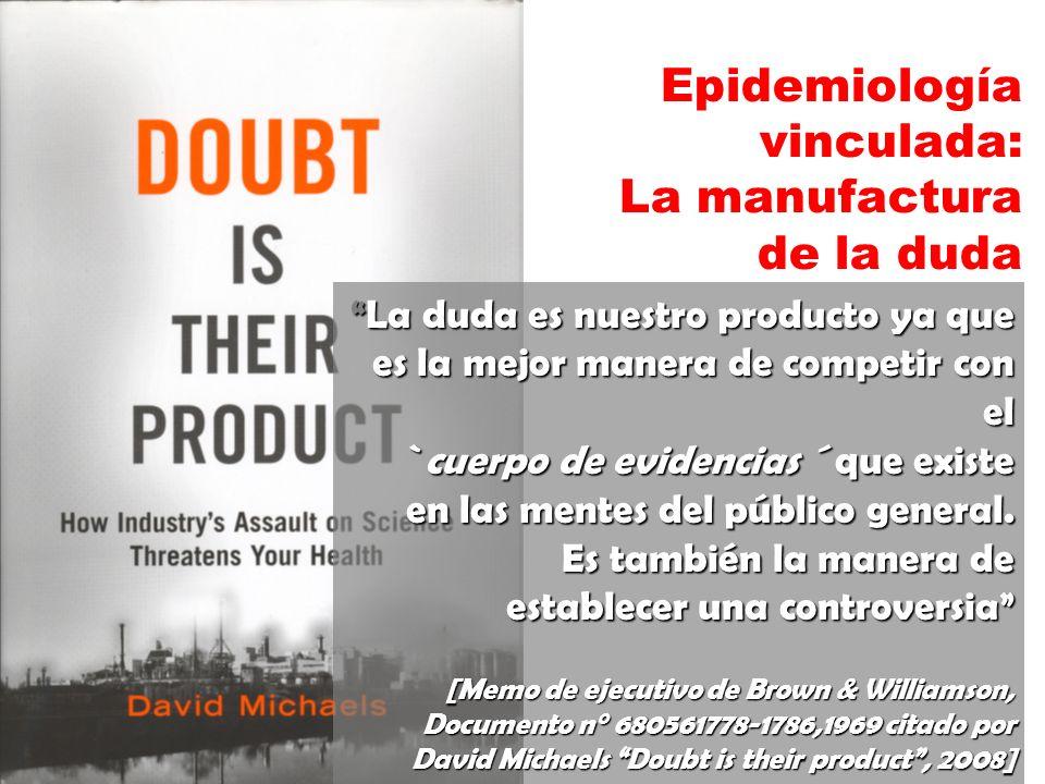 Epidemiología vinculada: La manufactura de la duda La duda es nuestro producto ya que La duda es nuestro producto ya que es la mejor manera de competi