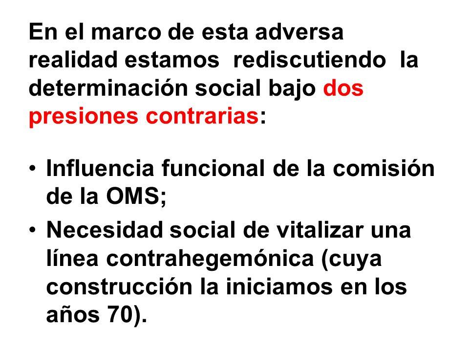 En el marco de esta adversa realidad estamos rediscutiendo la determinación social bajo dos presiones contrarias: Influencia funcional de la comisión