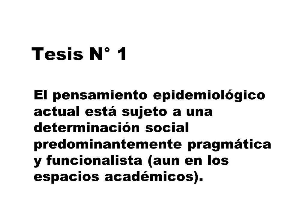 Tesis N° 1 El pensamiento epidemiológico actual está sujeto a una determinación social predominantemente pragmática y funcionalista (aun en los espaci