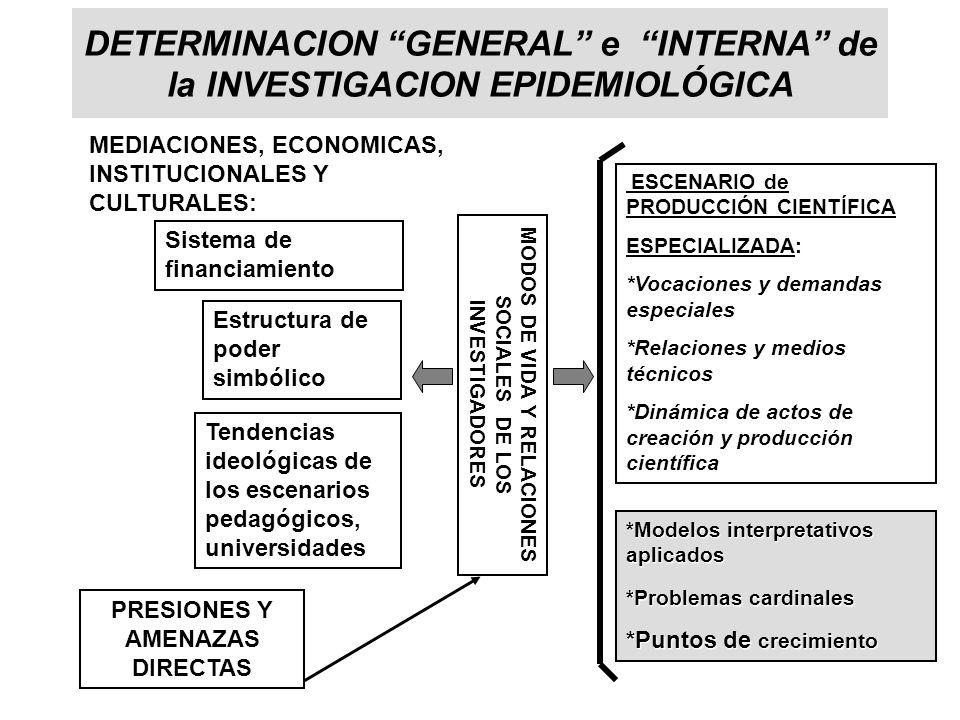 DETERMINACION GENERAL e INTERNA de la INVESTIGACION EPIDEMIOLÓGICA ESCENARIO de PRODUCCIÓN CIENTÍFICA ESPECIALIZADA: *Vocaciones y demandas especiales