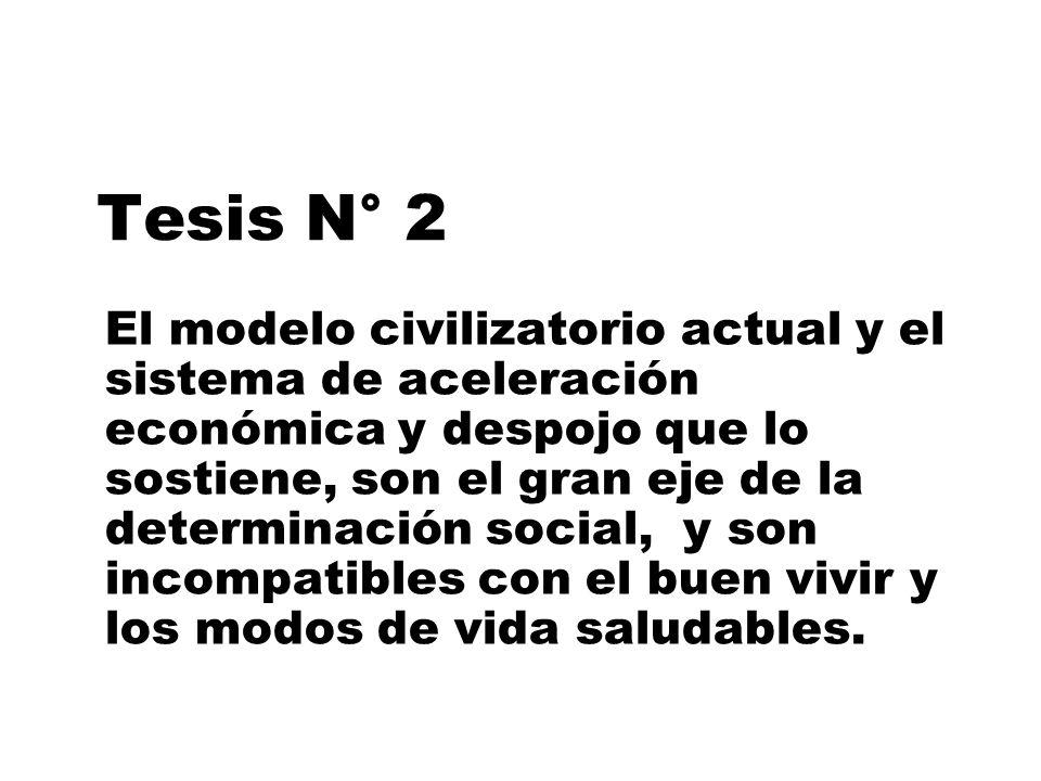 Tesis N° 2 El modelo civilizatorio actual y el sistema de aceleración económica y despojo que lo sostiene, son el gran eje de la determinación social,