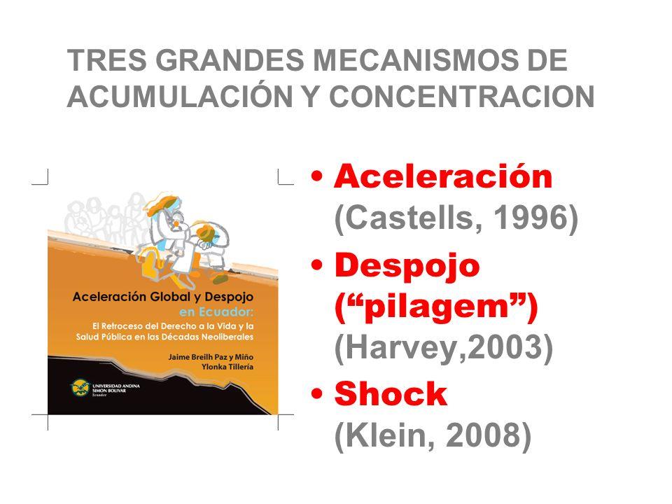 TRES GRANDES MECANISMOS DE ACUMULACIÓN Y CONCENTRACION Aceleración (Castells, 1996) Despojo (pilagem) (Harvey,2003) Shock (Klein, 2008)