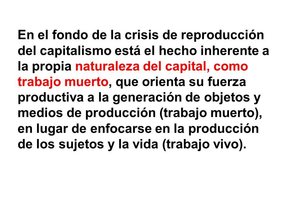 En el fondo de la crisis de reproducción del capitalismo está el hecho inherente a la propia naturaleza del capital, como trabajo muerto, que orienta