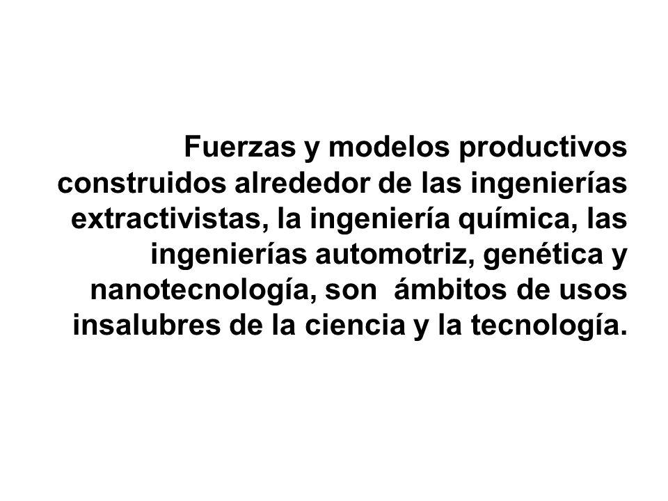 Fuerzas y modelos productivos construidos alrededor de las ingenierías extractivistas, la ingeniería química, las ingenierías automotriz, genética y n