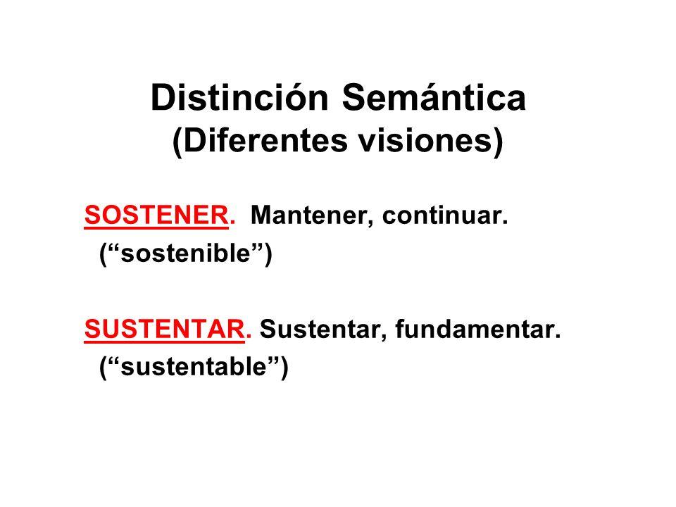 Distinción Semántica (Diferentes visiones) SOSTENER. Mantener, continuar. (sostenible) SUSTENTAR. Sustentar, fundamentar. (sustentable)