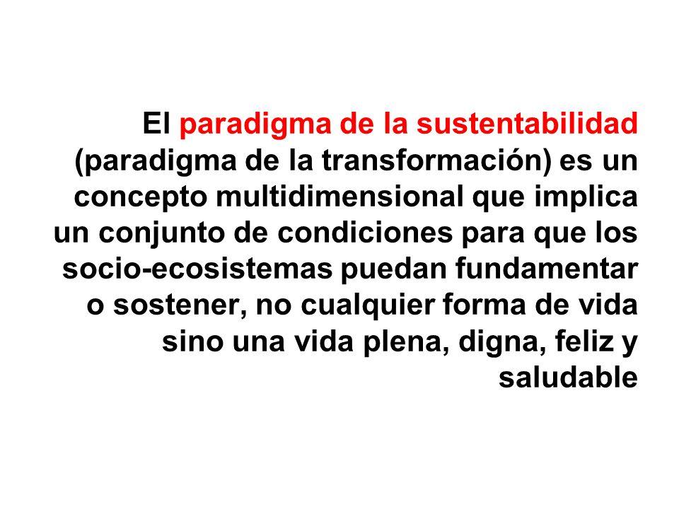 El paradigma de la sustentabilidad (paradigma de la transformación) es un concepto multidimensional que implica un conjunto de condiciones para que lo