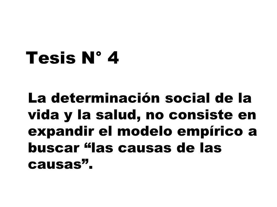 Tesis N° 4 La determinación social de la vida y la salud, no consiste en expandir el modelo empírico a buscar las causas de las causas.