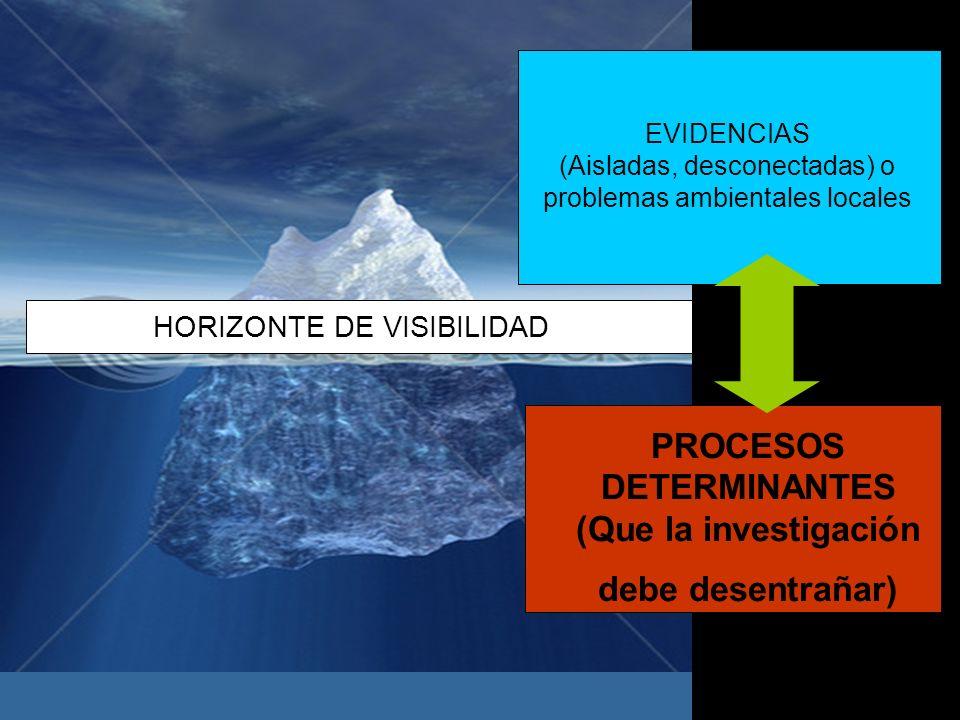 PROCESOS DETERMINANTES (Que la investigación debe desentrañar) EVIDENCIAS (Aisladas, desconectadas) o problemas ambientales locales HORIZONTE DE VISIB