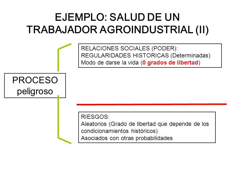 EJEMPLO: SALUD DE UN TRABAJADOR AGROINDUSTRIAL (II) PROCESO peligroso RELACIONES SOCIALES (PODER): REGULARIDADES HISTORICAS (Determinadas) Modo de dar