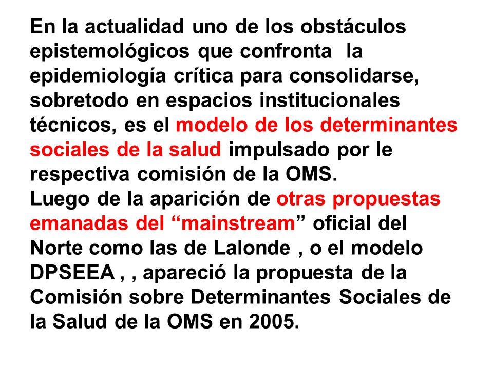En la actualidad uno de los obstáculos epistemológicos que confronta la epidemiología crítica para consolidarse, sobretodo en espacios institucionales