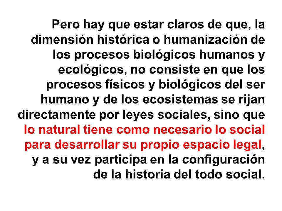 Pero hay que estar claros de que, la dimensión histórica o humanización de los procesos biológicos humanos y ecológicos, no consiste en que los proces