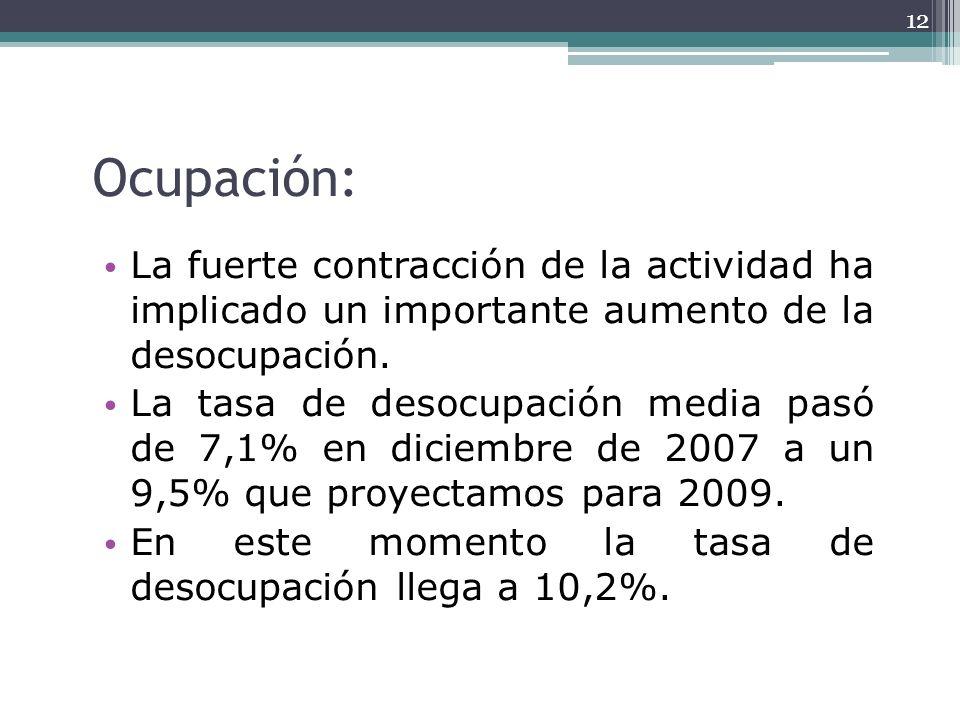 Ocupación: La fuerte contracción de la actividad ha implicado un importante aumento de la desocupación. La tasa de desocupación media pasó de 7,1% en