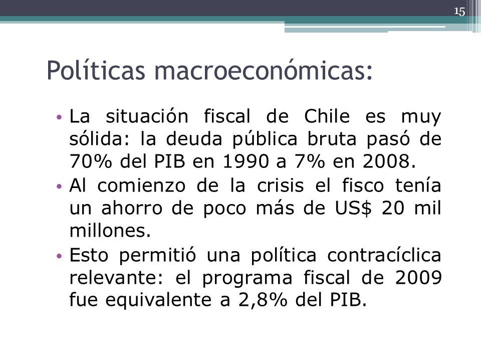Políticas macroeconómicas: La situación fiscal de Chile es muy sólida: la deuda pública bruta pasó de 70% del PIB en 1990 a 7% en 2008. Al comienzo de