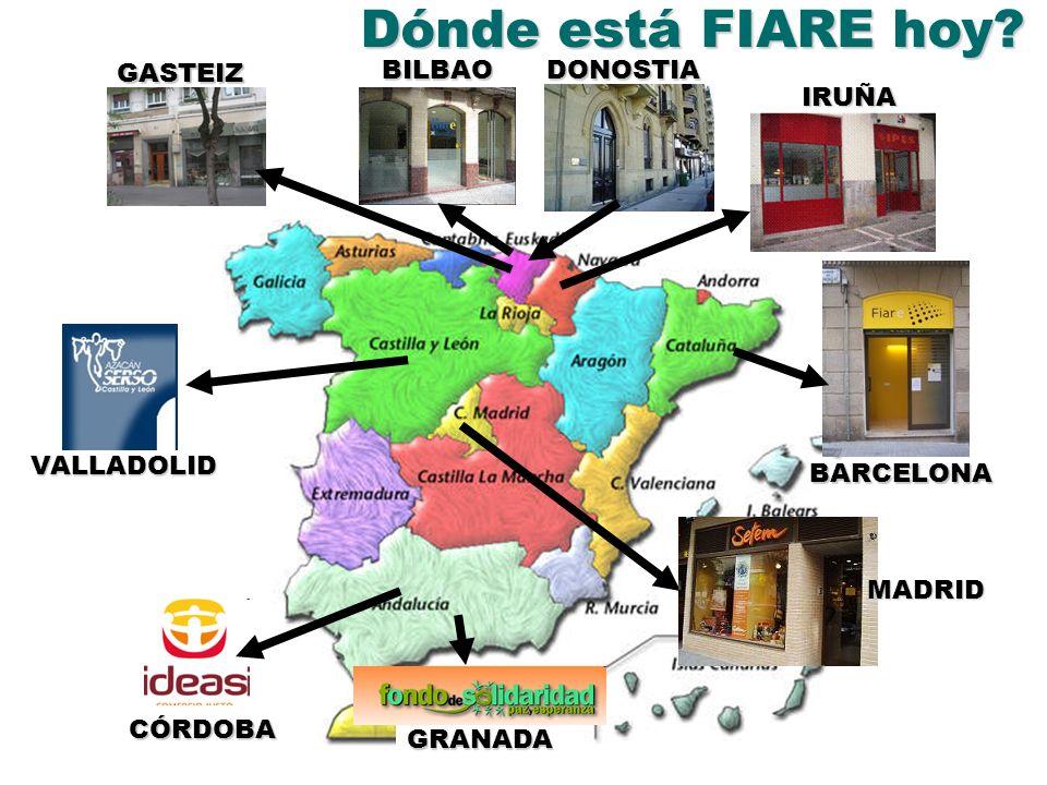 Dónde está FIARE hoy? BILBAODONOSTIA IRUÑA GASTEIZ BARCELONA GRANADA MADRID CÓRDOBA VALLADOLID