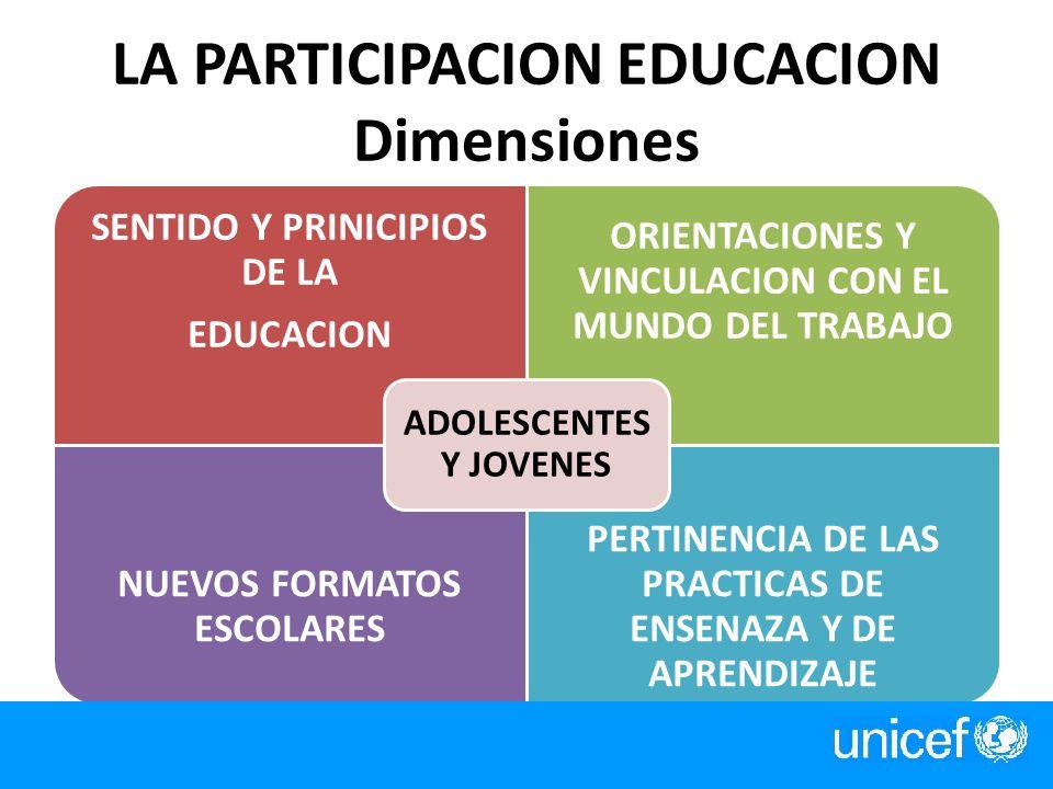 LA PARTICIPACION EDUCACION Dimensiones SENTIDO Y PRINICIPIOS DE LA EDUCACION ORIENTACIONES Y VINCULACION CON EL MUNDO DEL TRABAJO NUEVOS FORMATOS ESCO