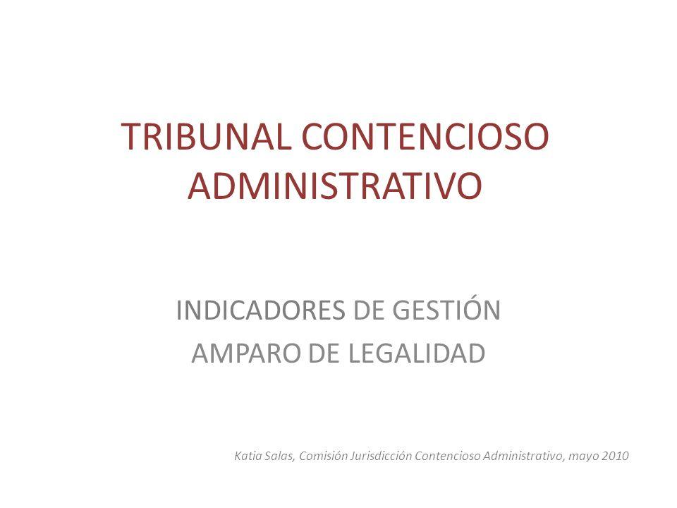 TRIBUNAL CONTENCIOSO ADMINISTRATIVO INDICADORES DE GESTIÓN AMPARO DE LEGALIDAD Katia Salas, Comisión Jurisdicción Contencioso Administrativo, mayo 201