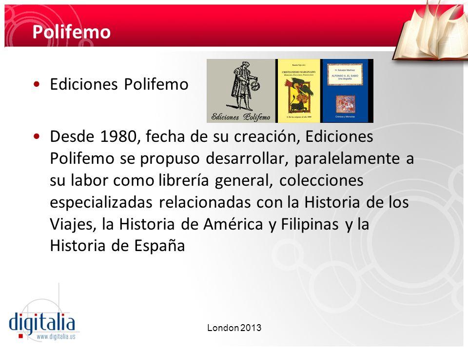 Polifemo Ediciones Polifemo Desde 1980, fecha de su creación, Ediciones Polifemo se propuso desarrollar, paralelamente a su labor como librería genera