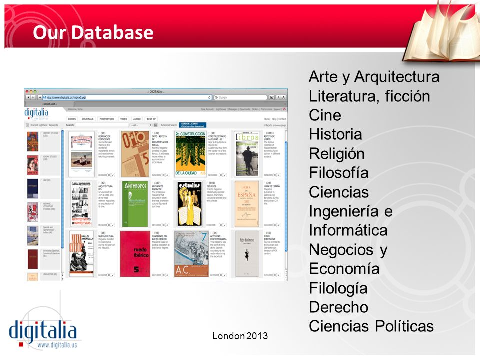 CONTENTS DIGITALIA Provides access to publications in Spanish, published by Spanish and Latin American publishing companies.