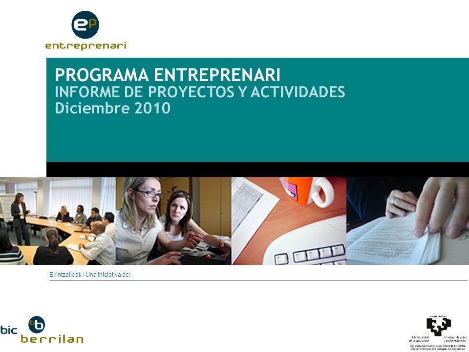 Programa ENTREPRENARI Informe Proyectos y Actividades 2010 LÍNEAS DE ACTUACIÓN Difusión de la cultura emprendedora.