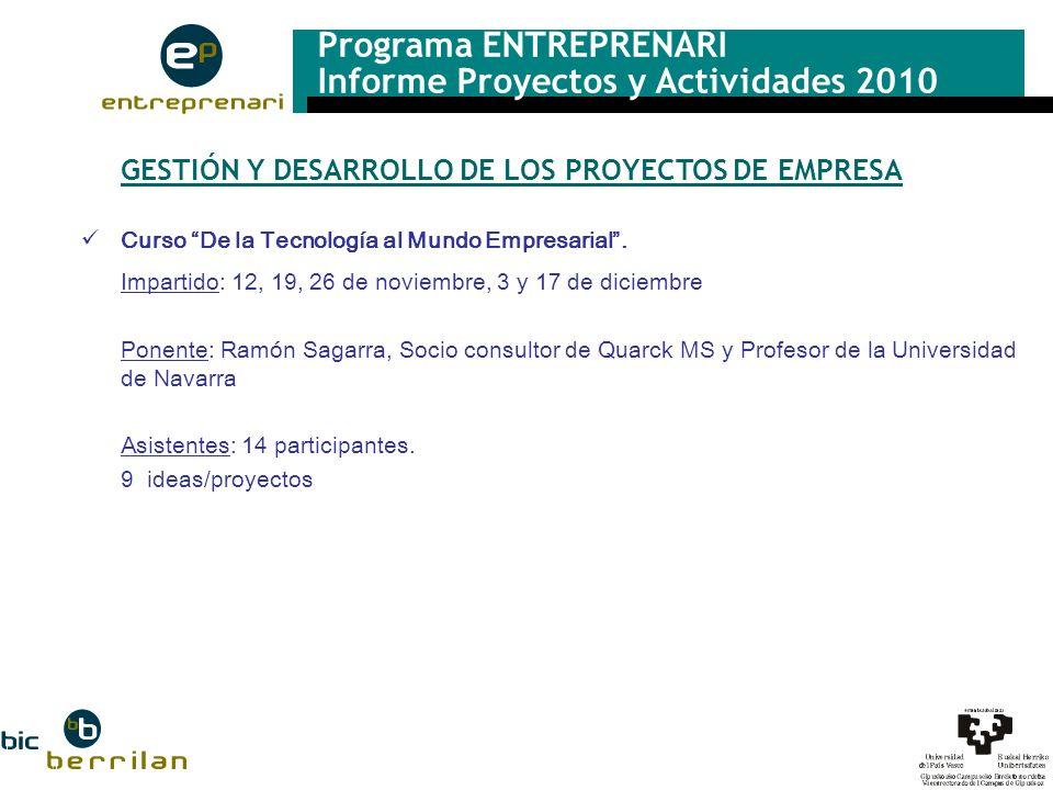 Programa ENTREPRENARI Informe Proyectos y Actividades 2010 GESTIÓN Y DESARROLLO DE LOS PROYECTOS DE EMPRESA Curso De la Tecnología al Mundo Empresaria