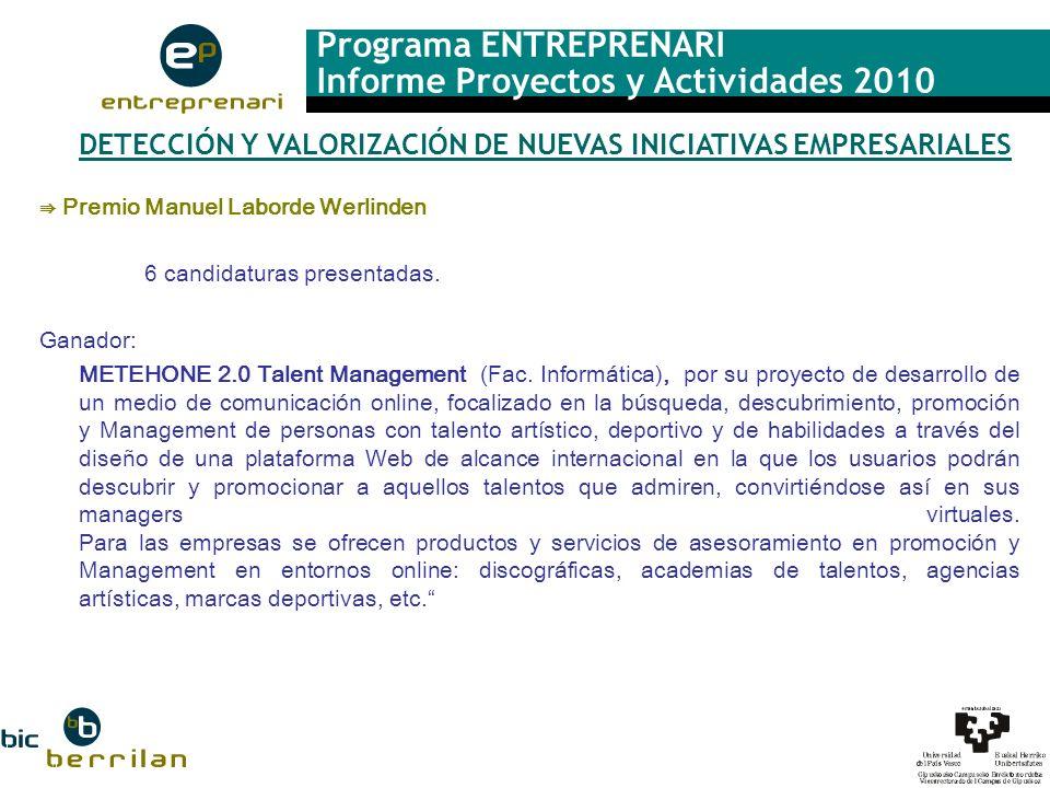 Programa ENTREPRENARI Informe Proyectos y Actividades 2010 DETECCIÓN Y VALORIZACIÓN DE NUEVAS INICIATIVAS EMPRESARIALES Premio Manuel Laborde Werlinde
