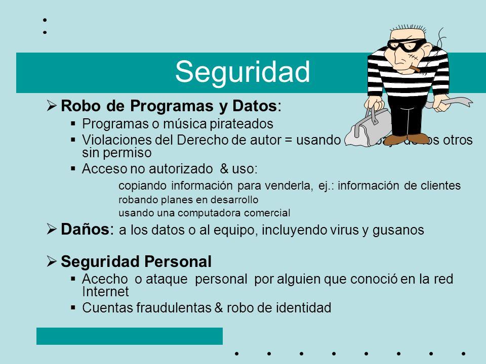 Seguridad Robo de Programas y Datos: Programas o música pirateados Violaciones del Derecho de autor = usando al trabajo de los otros sin permiso Acces