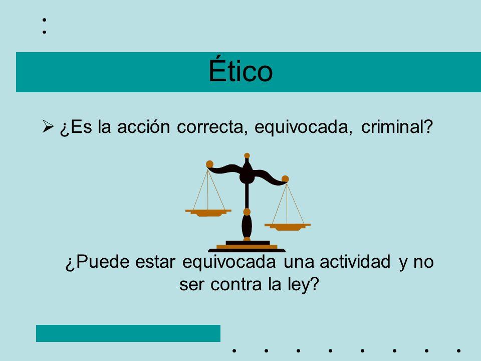 Ético ¿Es la acción correcta, equivocada, criminal? ¿Puede estar equivocada una actividad y no ser contra la ley?