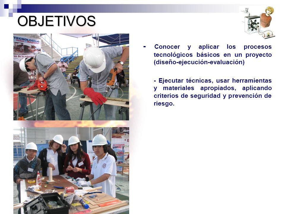 OBJETIVOS - Conocer y aplicar los procesos tecnológicos básicos en un proyecto (diseño-ejecución-evaluación) - Ejecutar técnicas, usar herramientas y materiales apropiados, aplicando criterios de seguridad y prevención de riesgo.