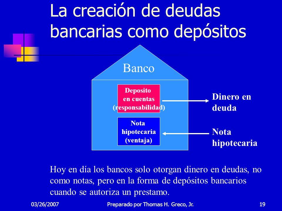 03/26/200719 Banco Dinero en deuda Nota hipotecaria Nota hipotecaria (ventaja) Hoy en día los bancos solo otorgan dinero en deudas, no como notas, per