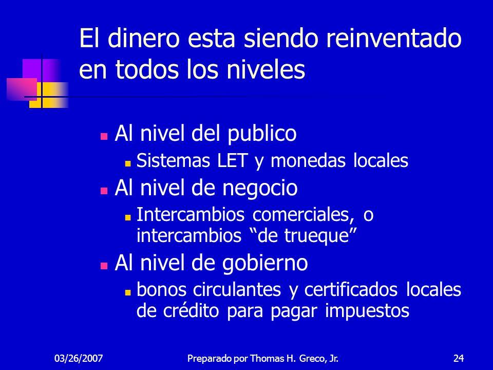 03/26/200724 El dinero esta siendo reinventado en todos los niveles Al nivel del publico Sistemas LET y monedas locales Al nivel de negocio Intercambi