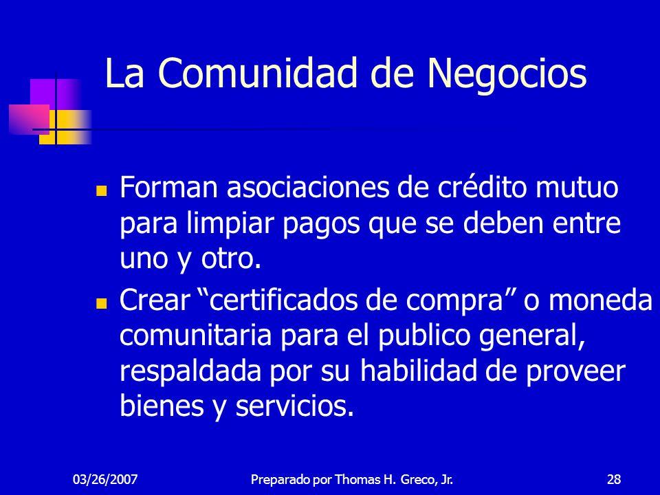 03/26/200728 La Comunidad de Negocios Forman asociaciones de crédito mutuo para limpiar pagos que se deben entre uno y otro. Crear certificados de com