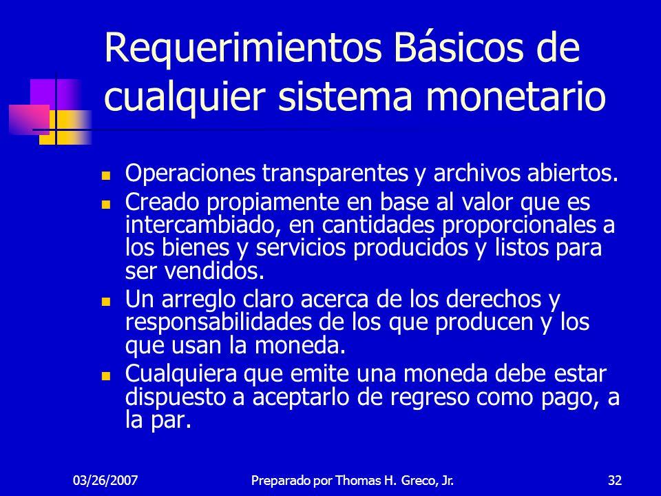 03/26/200732 Requerimientos Básicos de cualquier sistema monetario Operaciones transparentes y archivos abiertos. Creado propiamente en base al valor