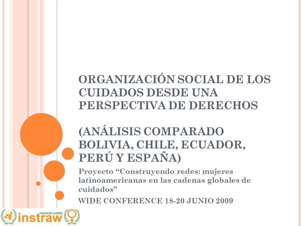 ORGANIZACIÓN SOCIAL DE LOS CUIDADOS DESDE UNA PERSPECTIVA DE DERECHOS (ANÁLISIS COMPARADO BOLIVIA, CHILE, ECUADOR, PERÚ Y ESPAÑA) Proyecto Construyend